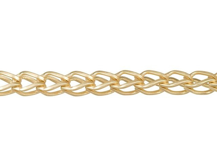 5x3mm Satin Hamilton Gold-Plated Brass Fox Chain By the Foot
