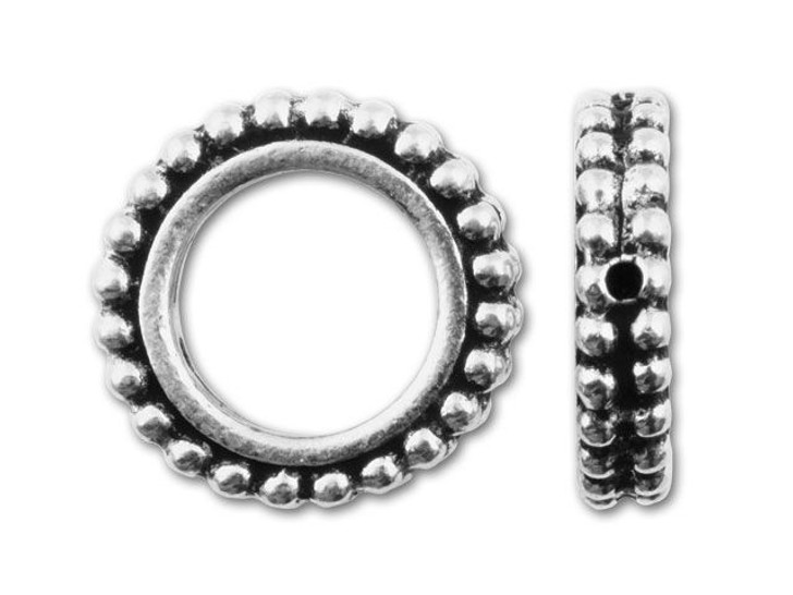 TierraCast 14.5mm Antique Silver Round Granulated Bead Frame