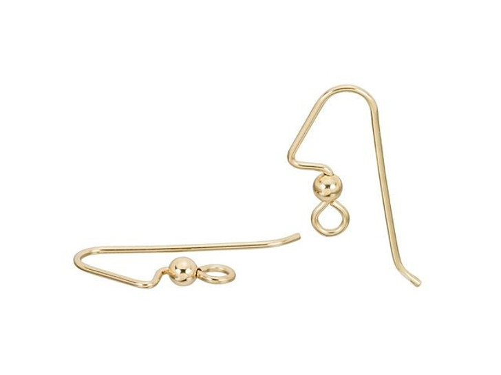 TierraCast Gold-Filled 14K/20 Angled Earwire with 3mm Bead (Pair)