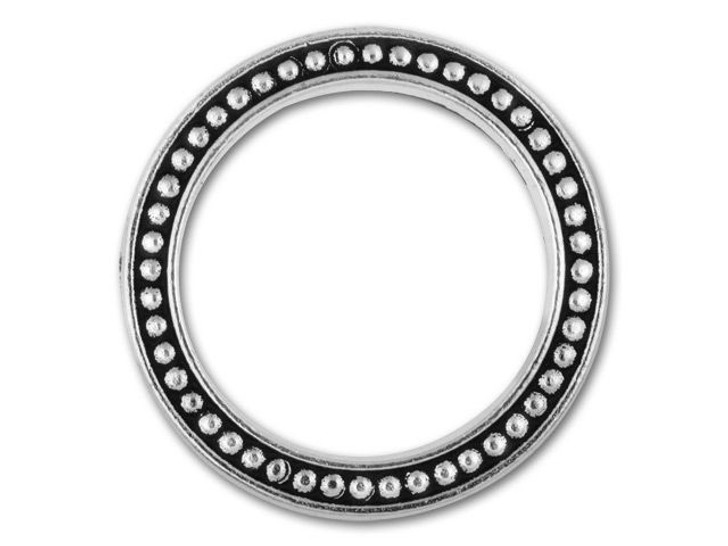 TierraCast 25mm Antique Silver-Plated Beaded Ring Link