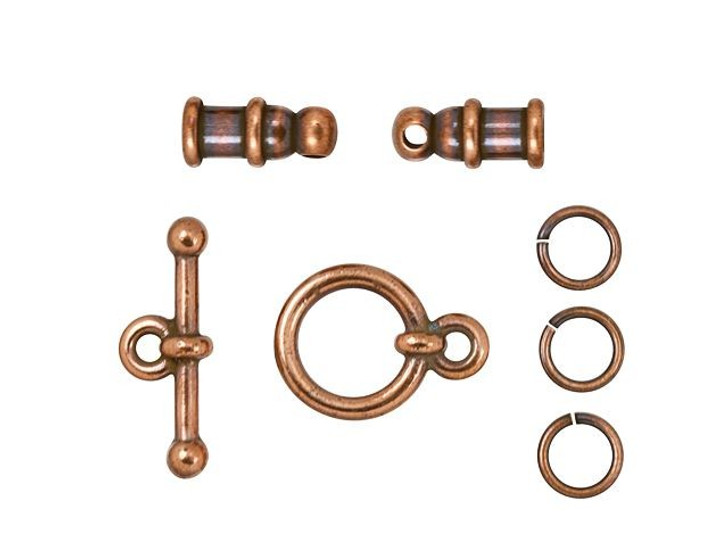 TierraCast 2mm Antique Copper-Plated Brass Pagoda Cord End Toggle Clasp Set