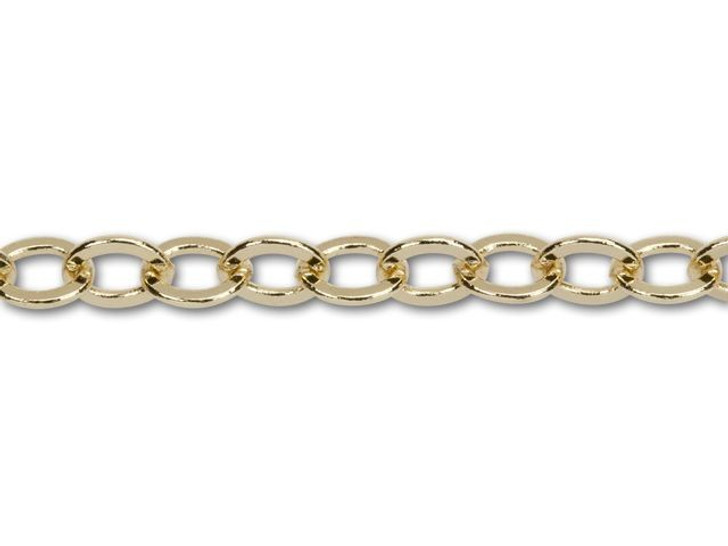 5x4.5mm Gold-Plated Flat Cable Chain By the Foot