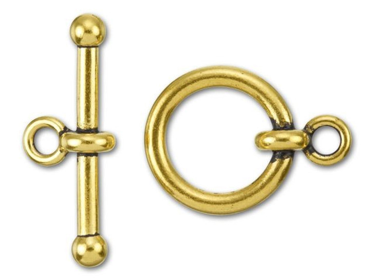 TierraCast 3/4-Inch Antique Gold-Plated Pewter Anna's Toggle and Clasp 26x31.5mm