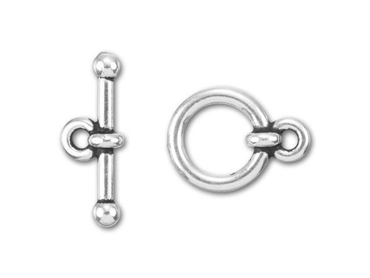 TierraCast 3/8-Inch Antique Silver-Plated Pewter Anna's Toggle and Clasp 13.5x10mm