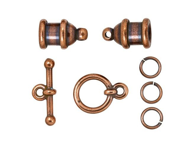 TierraCast 4mm Antique Copper-Plated Brass Pagoda Cord End Toggle Clasp Set