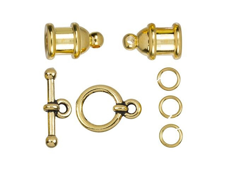 TierraCast 4mm Gold-Plated Brass Pagoda Cord End Toggle Clasp Set