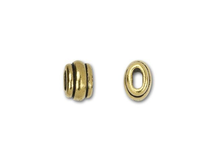TierraCast 4x2mm Antique Gold-Plated Pewter Deco Barrel Slider Bead