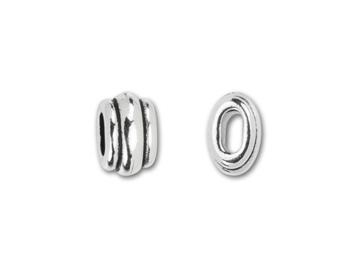 TierraCast 4x2mm Antique Silver-Plated Pewter Deco Barrel Slider Bead