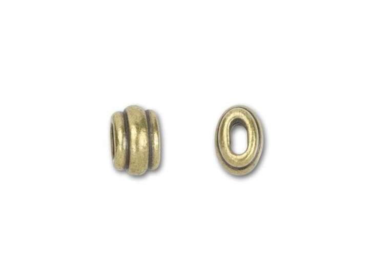 TierraCast 4x2mm Oxidized Brass-Plate Deco Barrel Slider Bead