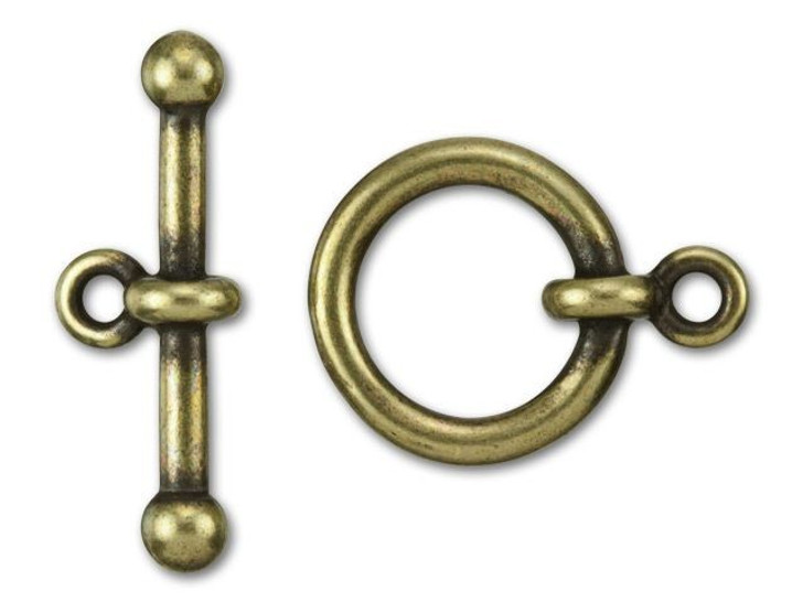 TierraCast 5/8-Inch Oxidized Brass-Plate Anna's Toggle and Clasp 21x16mm