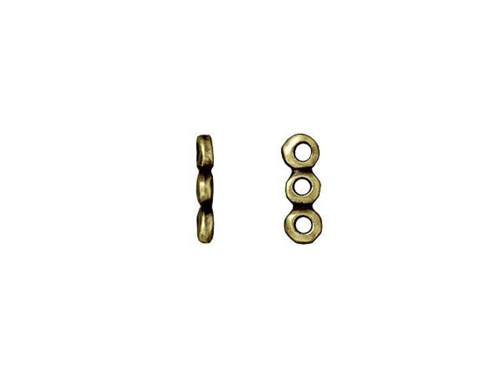 TierraCast 5mm Oxidized Brass-Plate 3 Hole Nugget Spacer Bar