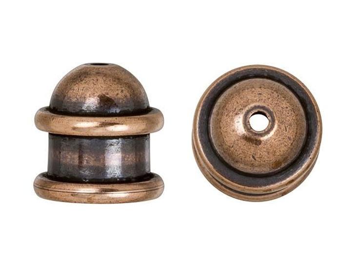 TierraCast 6mm Antique Copper-Plated Brass Capitol Cord End Cap