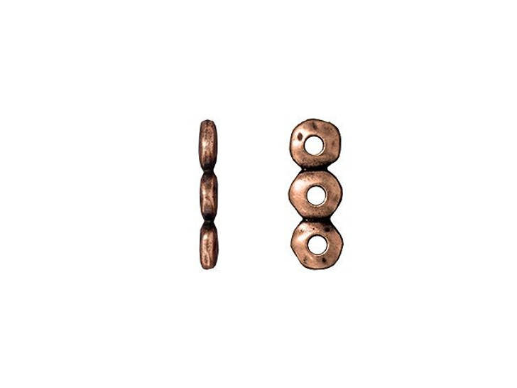 TierraCast 7mm Antique Copper-Plated Pewter 3 Hole Nugget Spacer Bar