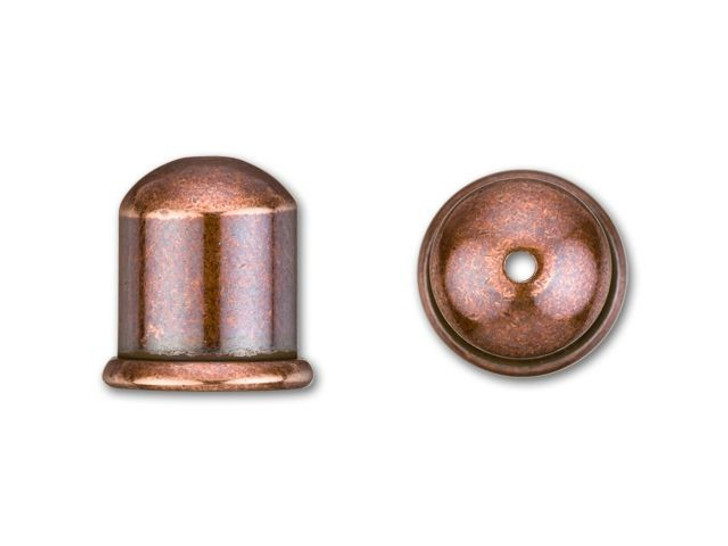 TierraCast 8mm Antique Copper-Plated Brass Cupola Cord End Cap
