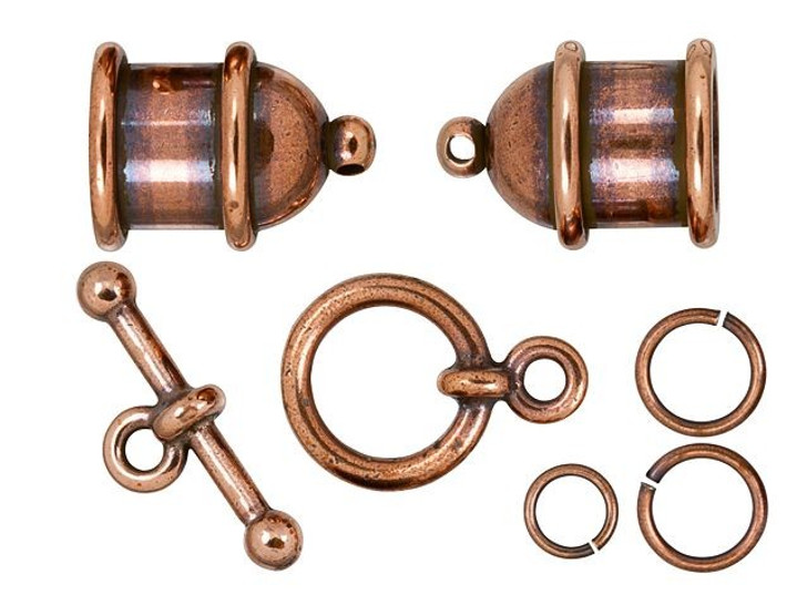 TierraCast 8mm Antique Copper-Plated Brass Pagoda Cord End Toggle Clasp Set