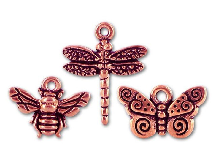 TierraCast Antique Copper Bee, Dragonfly, and Butterfly Charm Mix (3 pack)