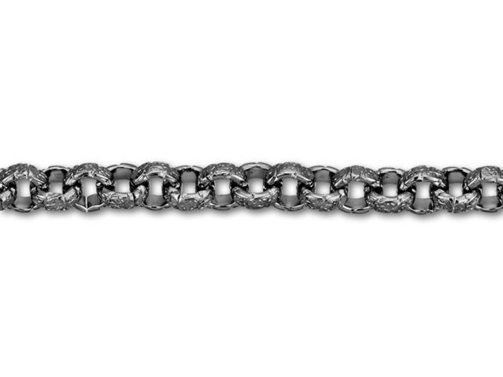 6.3mm Gunmetal-Plated Vintage Patterned Rolo Chain by the Foot