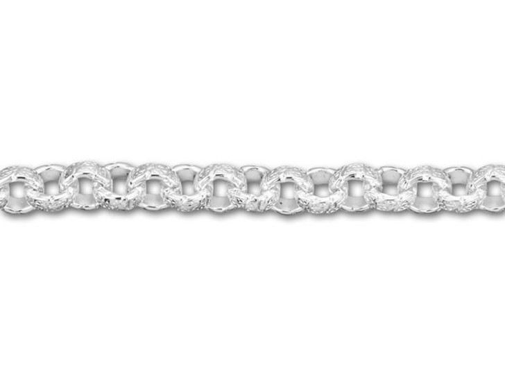 6.3mm Silver-Plated Vintage Patterned Rolo Chain by the Foot