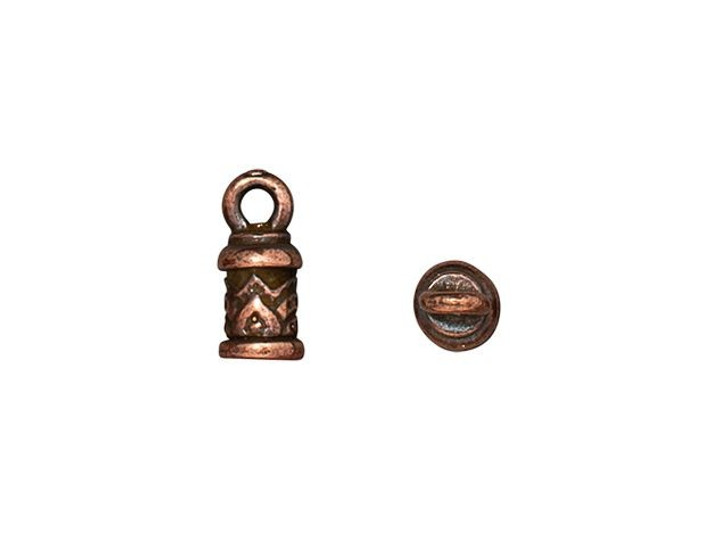TierraCast Antique Copper-Plated Pewter 2mm Temple Cord End Cap