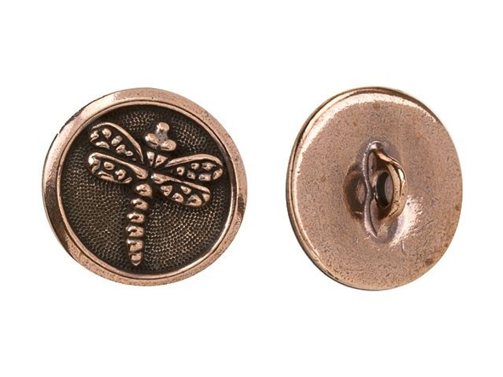 TierraCast Antique Copper-Plated Pewter Dragonfly Button
