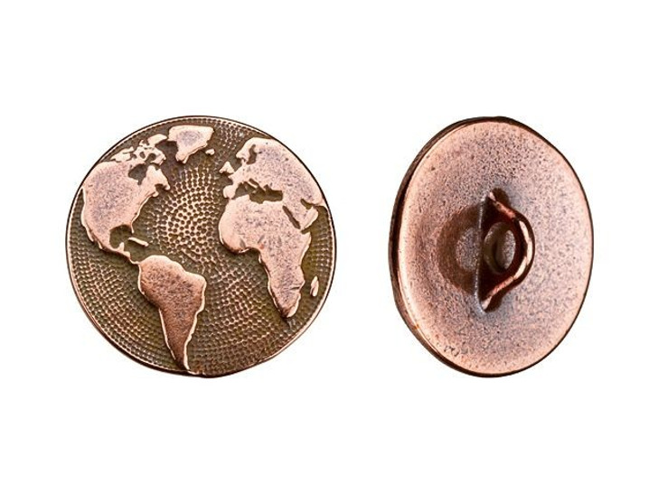 TierraCast Antique Copper-Plated Pewter Earth Button