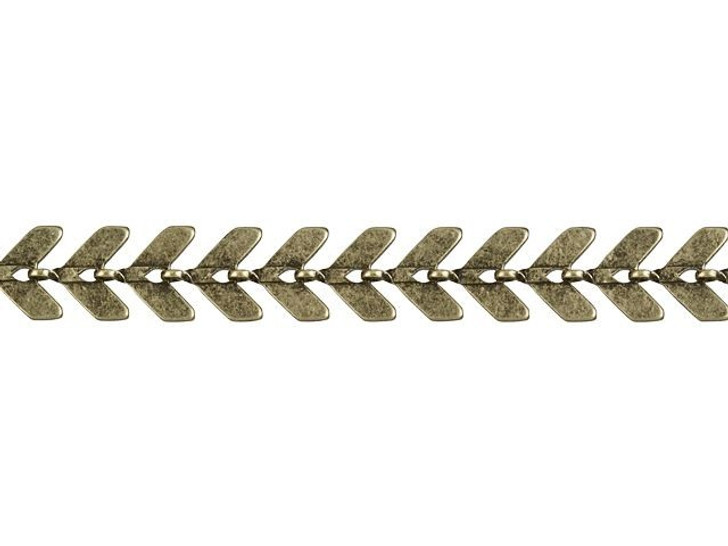 6.5mm Antique Brass Flat Chevron Link Chain By the Foot
