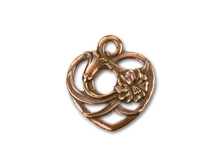 TierraCast Antique Copper-Plated Pewter Floral Heart Charm