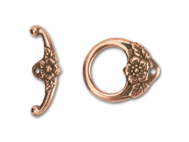 TierraCast Antique Copper-Plated Pewter Floral Toggle Clasp