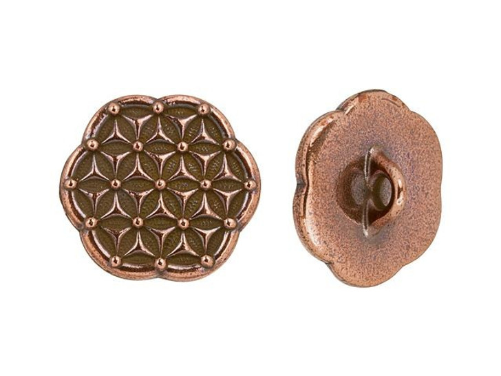 TierraCast Antique Copper-Plated Pewter Flower of Life Button