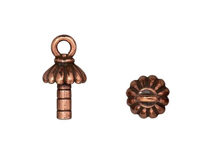 TierraCast Antique Copper-Plated Pewter Joy 3mm Peg Glue-On Cap