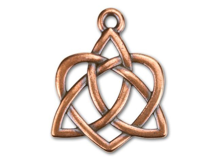 TierraCast Antique Copper-Plated Pewter Large Celtic Open Heart Charm
