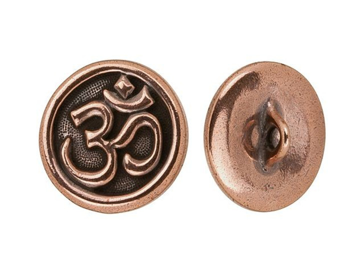 TierraCast Antique Copper-Plated Pewter Om Button