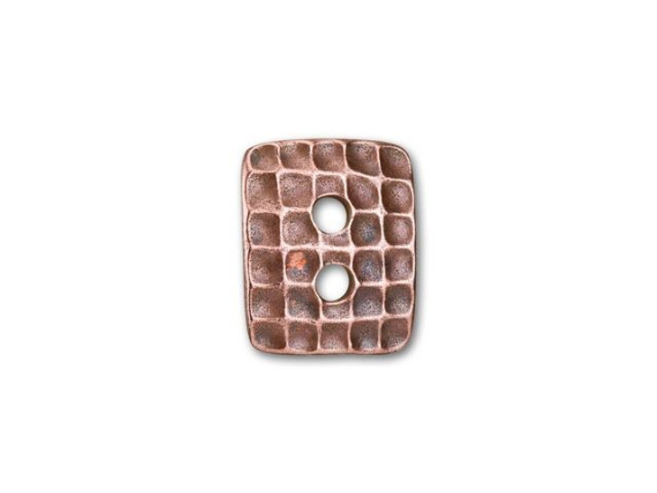 TierraCast Antique Copper-Plated Pewter Rectangle Hammertone Button
