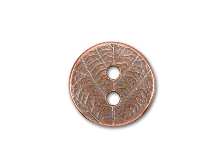 TierraCast Antique Copper-Plated Pewter Round Leaf Button