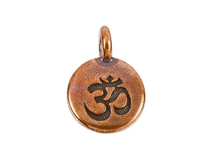 TierraCast Antique Copper-Plated Pewter Round OM Charm