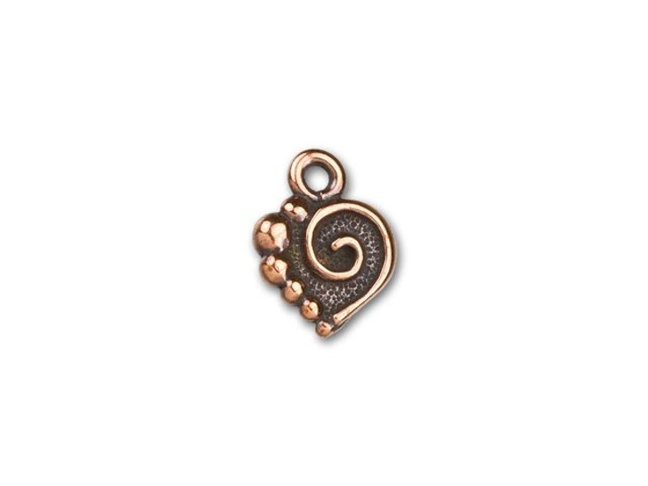 TierraCast Antique Copper-Plated Pewter Spiral Heart Charm