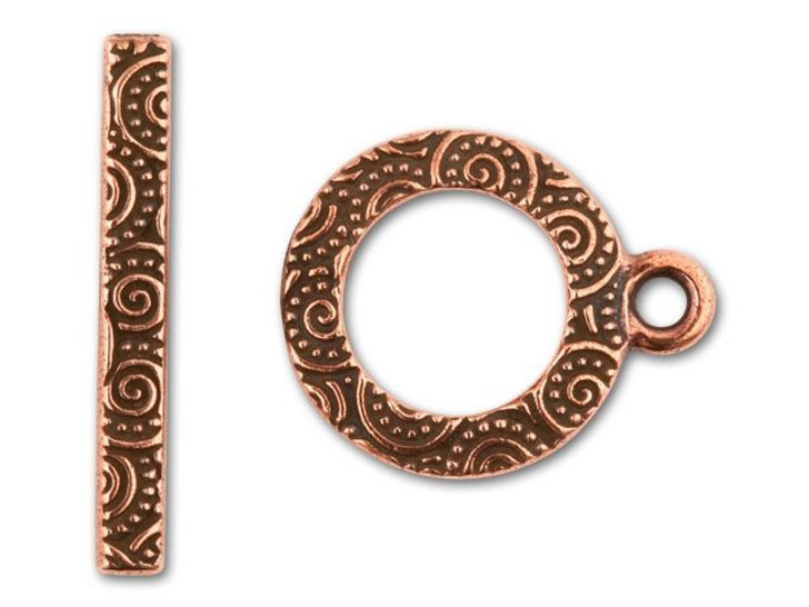 Tierracast Antique Copper-Plated Spiral Toggle Clasp