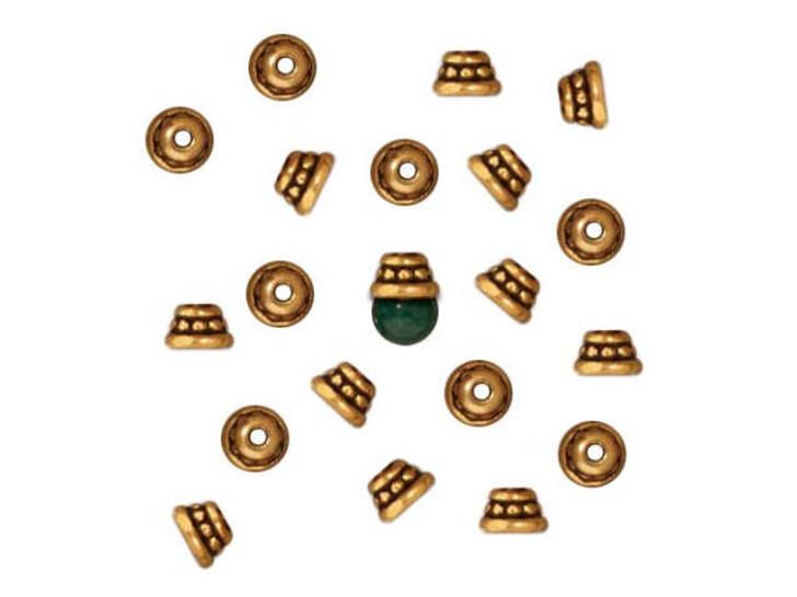 TierraCast Antique Gold 4mm Beaded Bead Cap