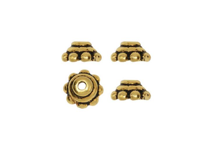 TierraCast Antique Gold 5mm Beaded Bead Cap