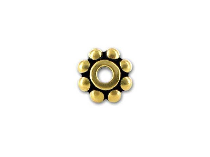 TierraCast Antique Gold 6mm Beaded Heishi Daisy Spacer