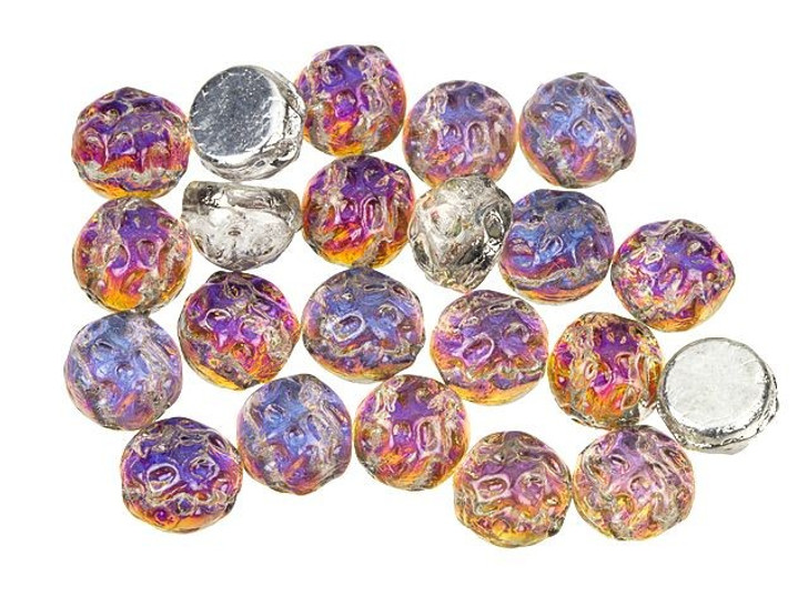 Czech Glass 2-Hole 7mm Backlit Vapor Baroque Cabochon Beads 10g Bag