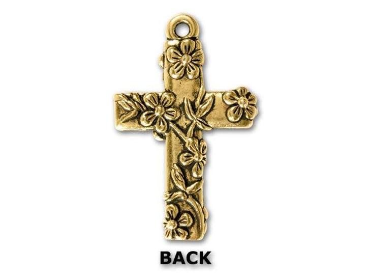 TierraCast Antique Gold Floral Cross Charm