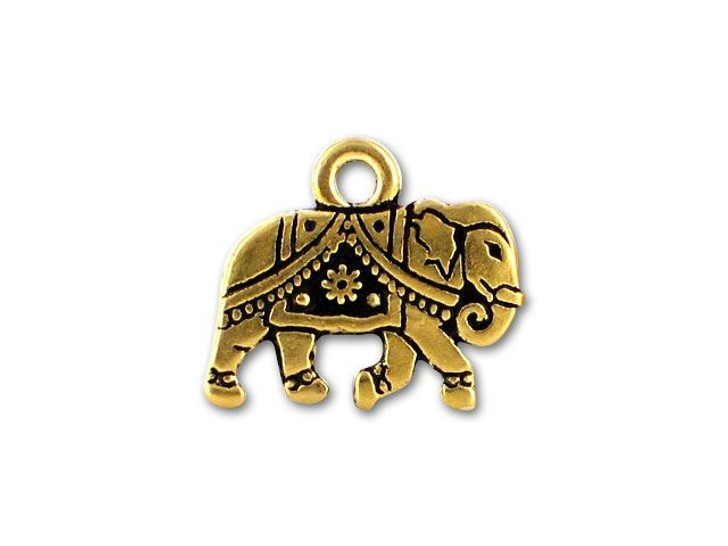 TierraCast Antique Gold Gita Elephant Charm