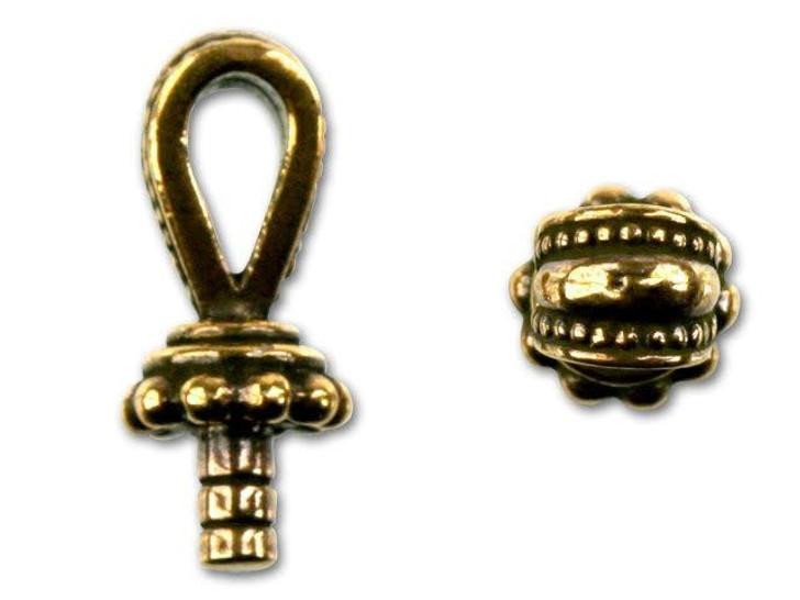 TierraCast Antique Gold Large-Hole Royal Bail