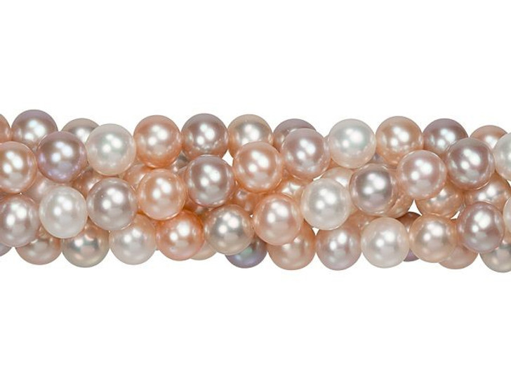 6-6.5mm Natural Multi-Colored Round Freshwater Pearl Strand