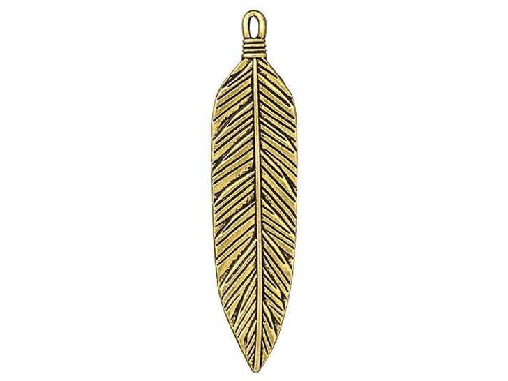TierraCast Antique Gold-Plated Pewter 3-Inch Feather Pendant