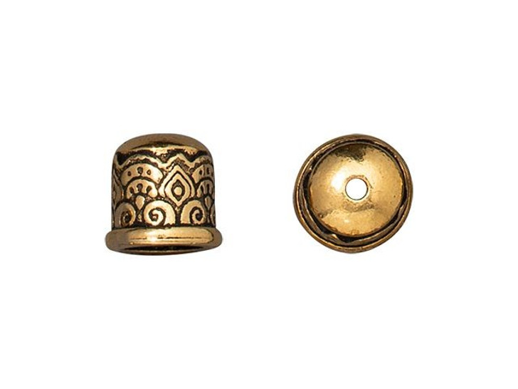 TierraCast Antique Gold-Plated Pewter 6mm Temple No Loop Cord End Cap