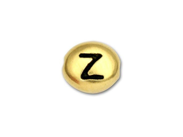 TierraCast Antique Gold-Plated Pewter Alphabet Bead - Z
