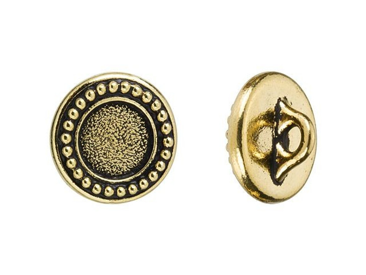 TierraCast Antique Gold-Plated Pewter Beaded Bezel Button