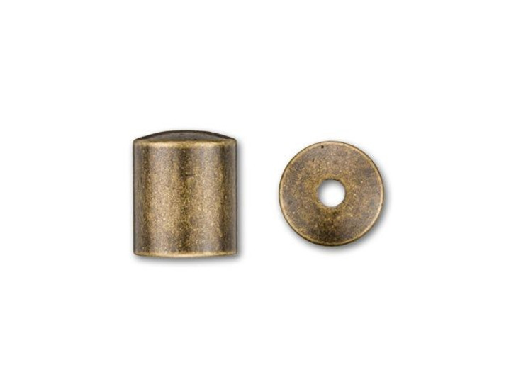 6mm Antique Brass-Plated Cord End Cap